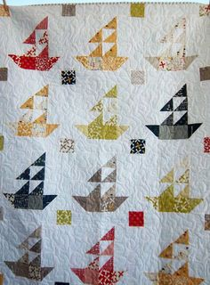 Dreamy Sailboat Quilt, Boy's Quilt, Lap Quilt by Dreamy Vintage Sheets on Etsy