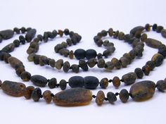 2 item set  Grey raw amber teething necklace by amberjewelryshop