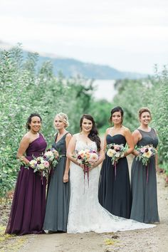 purple grey and blue bridesmaids @weddingchicks