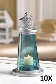 "10 BLUE GLASS WATCH TOWER CANDLE LANTERNS - 9 1/2"" HIGH - IRON & GLASS #Unbranded"