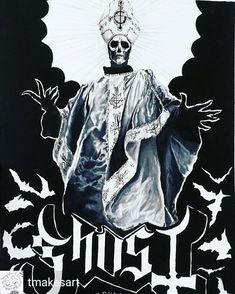 Ghost Metal Band, Doom Metal Bands, Heavy Metal Bands, Ghost Bc, Ghost Pictures, Black Metal, Rock N Roll, Fan Art, Tobias