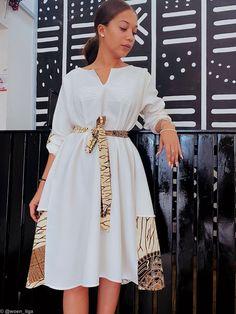 Kelly dress - white by woen-ilga - Short dresses - Afrikrea African Wear Dresses, Ankara Dress Styles, African Fashion Ankara, Latest African Fashion Dresses, African Print Fashion, Africa Fashion, African Attire, African Dresses Online, African Traditional Dresses