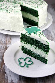 Green Velvet Cheesecake Cake for St. Patrick's Day!