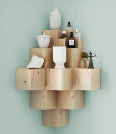 corner shelves made from wooden blocks