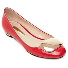 Fresh Style Patent Leather and Metal Design Flat Shoes For Women