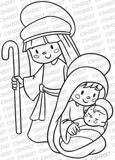 Clear Stamp/Digital sacred Family Christmas stamp Digital stamp with Christmas motif. PNG file with Christmas Drawing, Christmas Paintings, Felt Christmas, Christmas Colors, Christmas Projects, Family Christmas, Christmas Ornaments, Christmas Coloring Pages, Coloring Book Pages