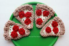 Pizza Applique Pattern :: Rescued Paw Designs, free crochet pattern ༺✿ƬⱤღ✿༻