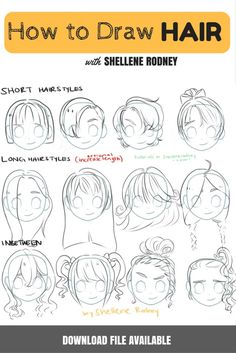 how to draw hair with Shellene Rodney, click for downloadable's ;)