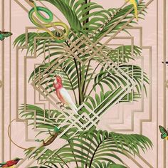 Birds tropical palm trees wallpaper pink metallic gold green decor tree and white . Tree Wallpaper Pink, Wallpaper Art Deco, Bathroom Wallpaper Geometric, Unusual Wallpaper, Snake Wallpaper, Tree Wallpaper Iphone, Animal Print Wallpaper, Tropical Wallpaper, Metallic Wallpaper