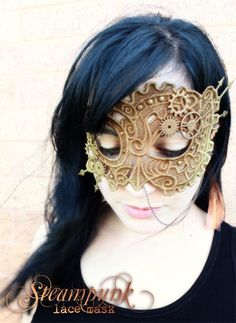 DIY Machine Embroidered Steampunk Lace Mask. Now I do not have a sewing machine that does embroidery, uploads files or any of that so I couldn't do the actual mask part. But I could buy the mask and do the rest of the tutorial. The pattern is from Urban Threads here and the tutorial is on their blog here.