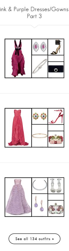 """""""Pink & Purple Dresses/Gowns - Part 3"""" by miriam83 ❤ liked on Polyvore featuring Torre & Tagus, Swarovski, Lalique, Nicki Minaj, Chanel, Givenchy, Christian Dior, Ilia, Nika and WALL"""