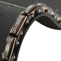 Mens Stainless Steel Greek Style Link Bracelet Black Bronze
