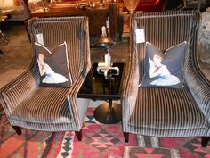 Mens-wear style! Our Venus chairs in Stephenson Burgundy Fabric