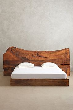 "Live Edge Wood King Bed - anthropologie.com 10""H, 80""W, 84""D Head: 40"" - 60""H, 110"" - 120""W; Foot: 10""H, 60""W"