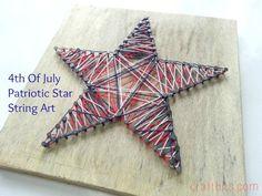 of July Patriotic String Art Patriotic Crafts, July Crafts, 4th Of July Celebration, Fourth Of July, Diy Wedding Binder, Diy For Kids, Crafts For Kids, Star Template, Nail String Art