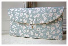 blue Grey Clutch ivory Clutch floral Clutch Bridesmaid by hoganfe,