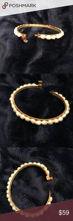 """Vtg fresh water pearl bracelet Just in! 12kt gold filled oval bangle bracelet. White fresh water pearls and genuine ruby. Clasp/pin closure. Fits 6 1/2""""-7"""" wrist. Dainty and lovely. Vintage Jewelry Bracelets"""