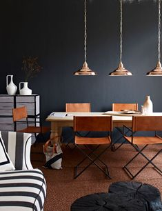 Love these copper light fixtures and navy blue walls together