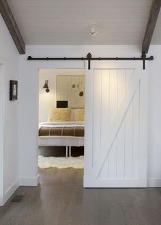 Artistic design for living. Love the doors. Home of Interior Designer Rachael Lovelace. The Design Chaser: April Interior Barn Doors, Home Interior, Modern Interior, Diy Interior Sliding Door, Chalet Interior, Hollow Core Doors, Chalet Design, Barn Door Designs, The Doors