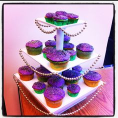 Mardi Gras Cupcakes: a box of cake mix, a can of frosting, and some food coloring is all you need for this project!