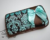 Boutique Baby Wipe Case - Brown Damask with Aqua Ribbon Covered Wipes Case