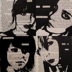 black portraits onto text