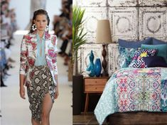Interior Design inspired by Runway. The trendy colours and prints of the season often find their way through our home as well. Interior Decorating, Interior Design, Trendy Colors, Pattern Mixing, Room Ideas, Kimono Top, Colours, Contemporary, Patterns