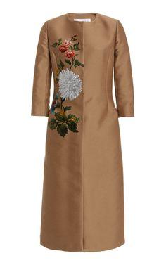 Floral Knee-Length Coat by Oscar de la Renta Flattering Dresses, Casual Dresses, Short Dresses, Dresses For Work, Coat Dress, Jacket Dress, Painted Clothes, Mid Length Skirts, Long Blouse
