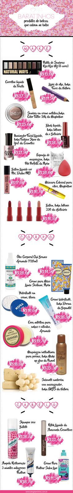 Baratinhos: produtos de beleza que cabem no bolso - Blog da Mimis - #beleza…