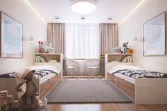 In a children's bedroom, twin beds bank along each wall with smart storage built underneath. Matching chairs and bookcases ensure perfect symmetry.