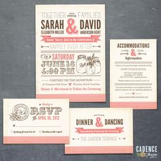 mason jars wedding invitation suite. rustic pink and brown.