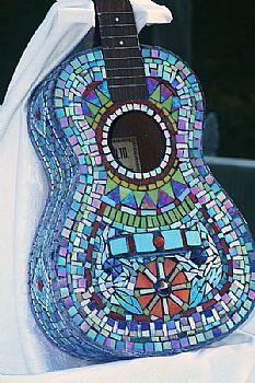 Image detail for -Art: Stained Glass Mosaic Ukelele by Artist Trish Alizade- Just Pane . Broken Glass Art, Sea Glass Art, Stained Glass Art, Mosaic Glass, Mosaic Diy, Mosaic Crafts, Mosaic Projects, Mosaic Tiles, Guitar Art
