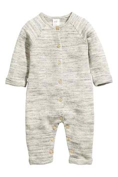 BABY EXCLUSIVE& Jumpsuit in soft, melange sweatshirt fabric made from organic cotton. Buttons at front and at gusset that Fashion Kids, Little Boy Fashion, Baby Boy Fashion, Baby Outfits, Kids Outfits, Cotton Jumpsuit, White Jumpsuit, Cute Baby Clothes, Kind Mode