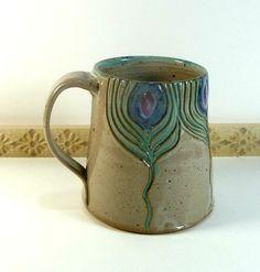 Hand Made Pottery Stein Mug with Swirling Peacock Design, Coffee, Tea, Hot…