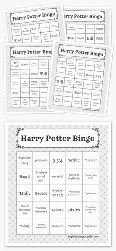 Harry Potter bingo games - great printable idea for a Harry Potter party. There's an online version you can play on your phone too.