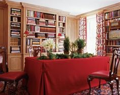 How about those RED shades on the library bookshelf lights?