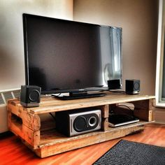 Scrap Wood Projects For Beginners – WoodworkeRealm Home Office, Easy Shelves, Sheltered Housing, Pallet Tv Stands, Self Build Houses, Diy Tv Stand, Pallet House, Pallet Designs, Scrap Wood Projects