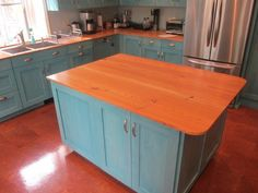 Reclaimed Heart Pine Kitchen Island Top http://www.realantiquewood.com