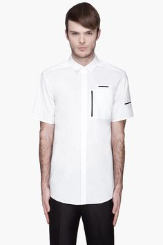 ALEXANDER WANG White black-trimmed Multi Pocket Shirt