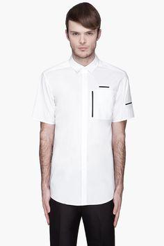ALEXANDER WANG White black-trimmed Multi Pocket Shirt