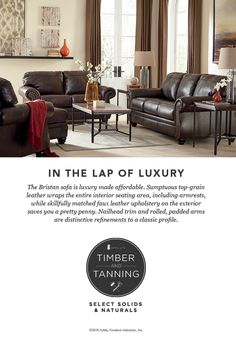 Timber and Tanning® - Select Solids and Naturals - Bristan Sofa - Leather and Wood Furniture Style - Ashley Furniture - #AshleyFurniture