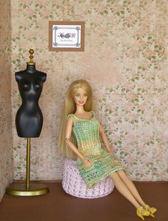 Knit Dress for Barbie Doll.Handmade Barbie Clothing.Chic Clothes for Barbie.