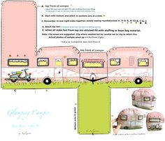 Skill level: Beginner to intermediate A fat quarter yields one.  One yard should give you four.  I put lace on my first prototype for a front visor.  But one is created digitially for you too.  Images on fabric show one  trailer finished. The back on this one has a digital applied image of a vintage scooter and of course the design is in pink and white with little dragon flies along the side.   Directions and sample will be printed on the fabric.  The canvas fabric was used in my prototype…