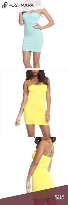 Beautiful dress - 2 colors available BLVD Collection - colors available are yellow and mint - Brand New Solid Mini Dress - cutout strap detail above bust - criss cross back straps - pullover style - 90% polyester 10% spandex - hand wash cold - size is medium and runs true to size - accepting offers BLVD Collection Dresses Mini