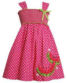 Bonnie Jean Kids Dress, Little Girls Dotted Watermelon Sundress Kid Clothes | Big Fashion Show kids dresses
