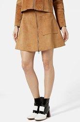 Topshop Front Zip Suede Skirt (Brit Pop-In) (Nordstrom Exclusive)