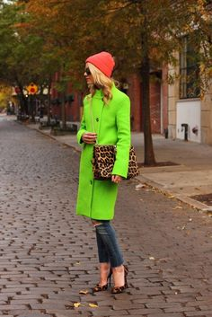 I kind of love the neon coat, but would likely never buy anything like it. Please don't judge me.