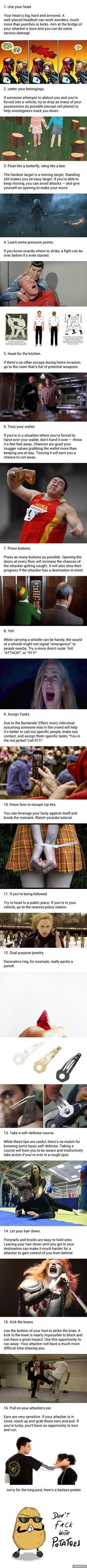 Self defense - 16 Tips to Save Your Life Survival Life Hacks, Survival Tips, Survival Skills, Life Advice, Good Advice, By Any Means Necessary, The More You Know, Useful Life Hacks, Life Savers