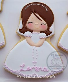 First Communion Girl Cookie, My First Communion Cookies Favors, 1 st Communion Gift, Holy Communion First Holy Communion Cake, First Communion Favors, Communion Gifts, Christening Cookies, First Communion Decorations, Royal Icing Decorations, Confirmation Gifts, Biscuits, Girl Cakes