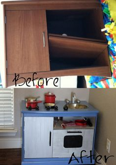 DIY kids play kitchen from a repurposed tv stand